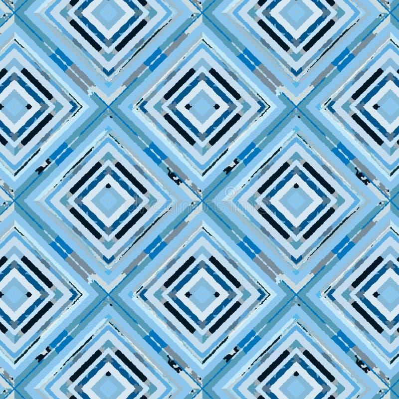 Il blu ha dipinto i diamanti in un modello senza cuciture di ripetizione illustrazione vettoriale