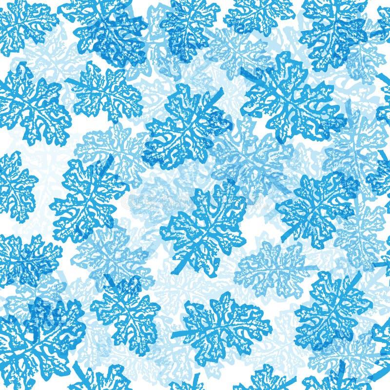 Il blu lascia il modello senza cuciture royalty illustrazione gratis