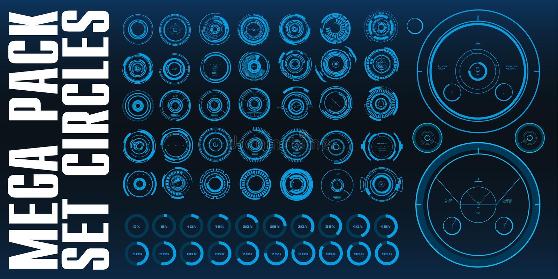 Il blu mega dell'insieme del pacchetto circonda l'interfaccia futuristica del hud illustrazione vettoriale