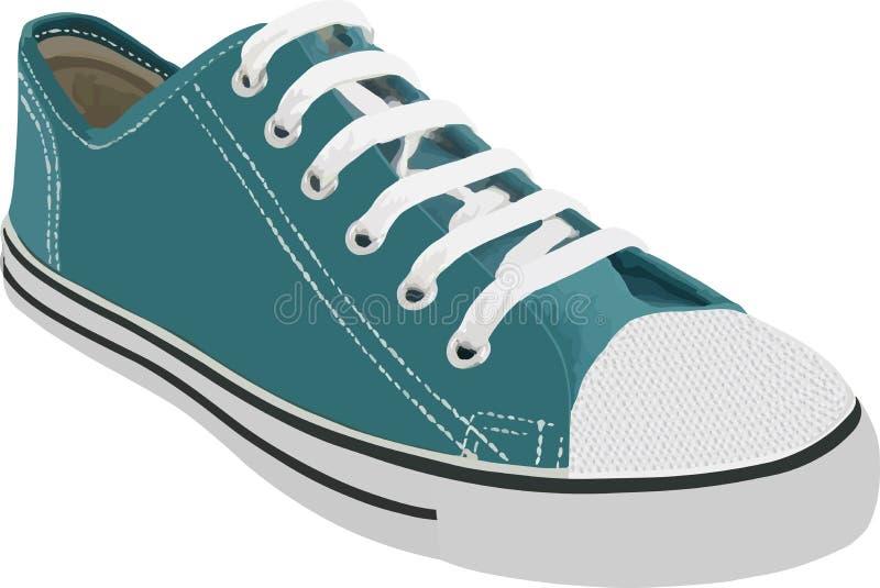 Il blu mette in mostra le scarpe da tennis con i pizzi bianchi isolati su fondo bianco Illustrazione di vettore illustrazione di stock