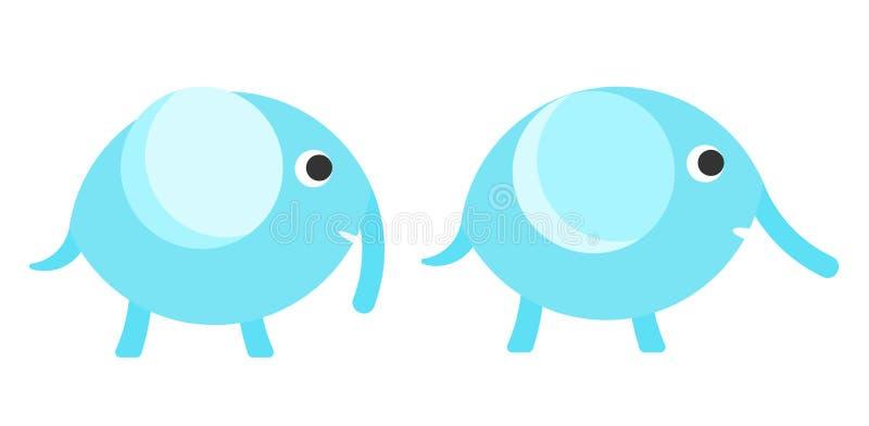 Il blu piano di vettore scherza il simbolo dell'elefante illustrazione vettoriale