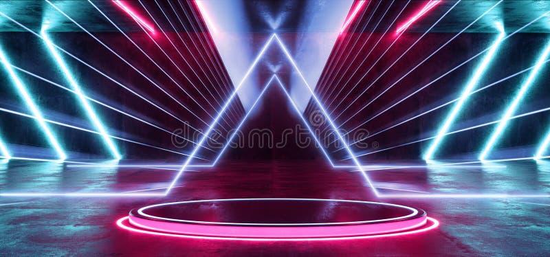 Il blu porpora vibrante fluorescente al neon futuristico di Sci Fi dell'estratto di Psychadelic emette luce moderno della stanza  illustrazione vettoriale