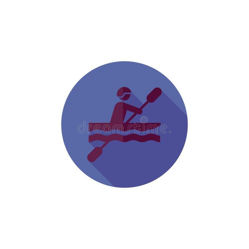 Il blu rotondo mette in mostra la rematura in uno stile piano, uomo dell'icona in una barca, illustrazione di stock