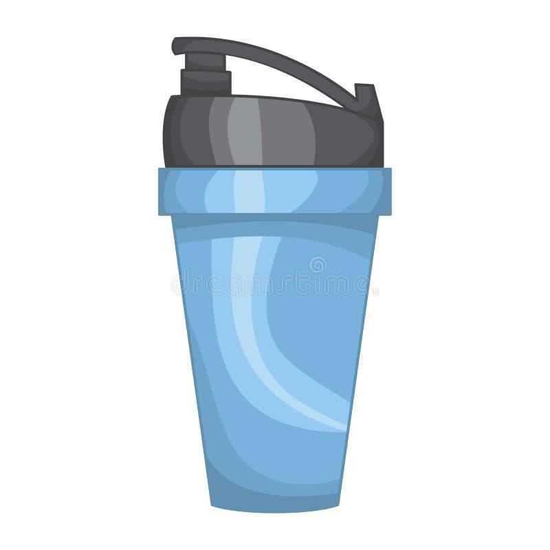 Il blu sportivo dell'agitatore ha isolato l'illustrazione su fondo bianco Icona piana di stile tazza del cocktail di forma fisica illustrazione vettoriale