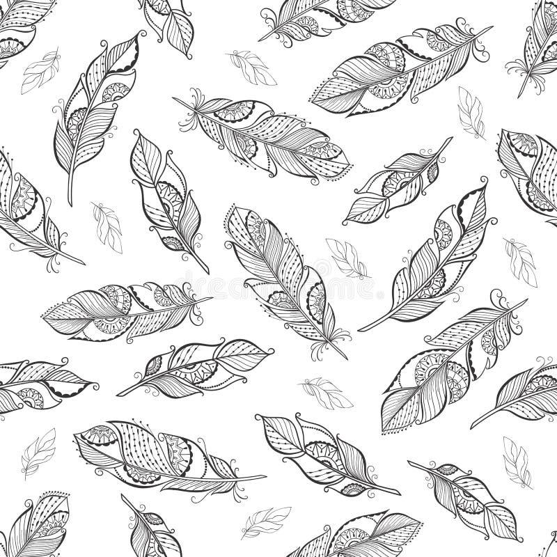 Il boho etnico d'annata mette le piume al modello senza cuciture royalty illustrazione gratis