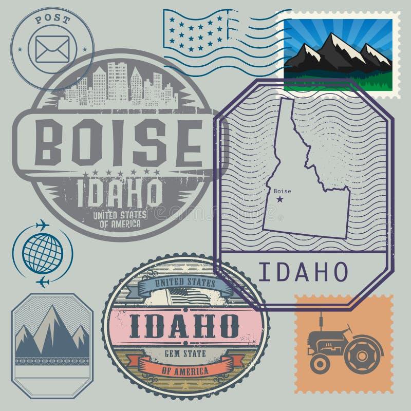 Il bollo ha messo con il nome e la mappa dell'Idaho illustrazione vettoriale