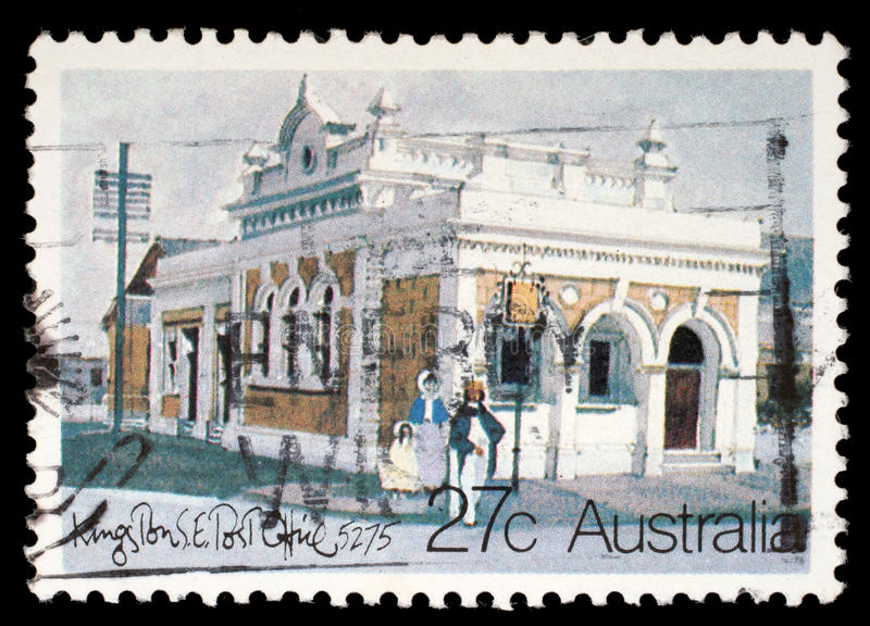 Il bollo stampato in Australia mostra gli uffici postali australiani storici, Kingston Southeast immagine stock libera da diritti