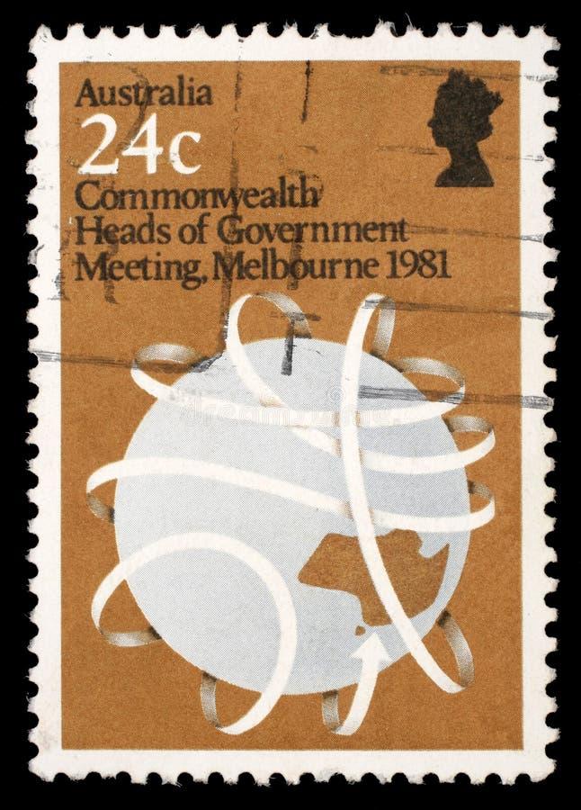 Il bollo stampato in Australia mostra i capi di governo la riunione, Melbourne del commonwealth immagini stock libere da diritti