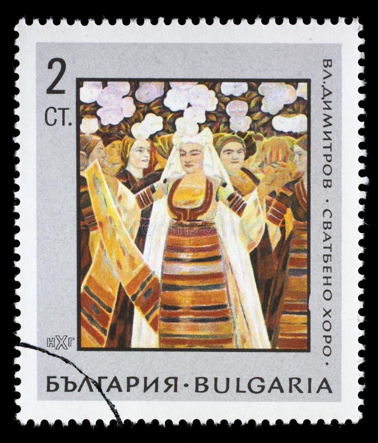 Il bollo stampato in Bulgaria mostra le nozze da Vladimir Dimitrov immagine stock