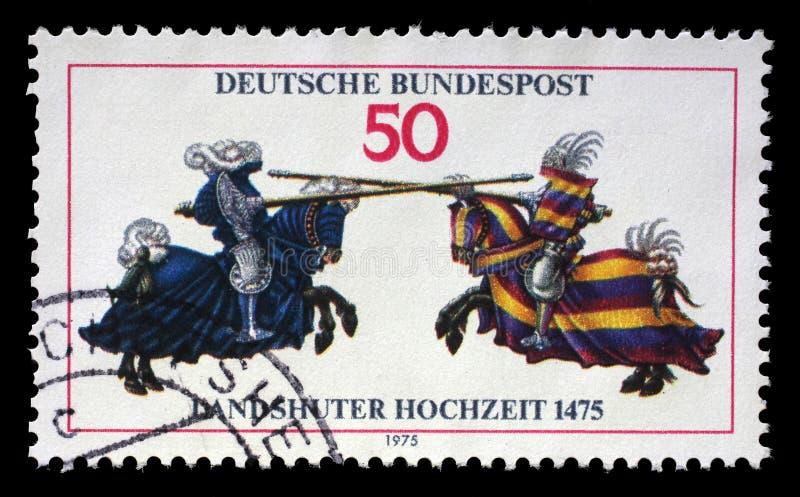 Il bollo stampato in Germania mostra la giostra, dal libro Jousting di William IV fotografia stock libera da diritti
