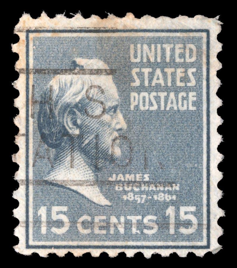 Il bollo stampato negli Stati Uniti d'America mostra James Buchanan fotografia stock
