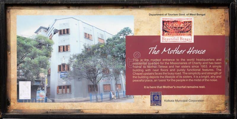Il bordo all'entrata per generare casa dei missionari di carità in Calcutta fotografia stock libera da diritti