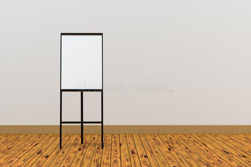 Il bordo in bianco del cavalletto con il fondo di legno del pavimento, rappresentazione 3d illustrazione di stock