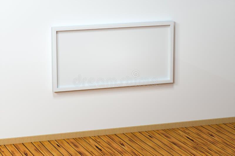Il bordo in bianco del cavalletto con il fondo di legno del pavimento, rappresentazione 3d royalty illustrazione gratis