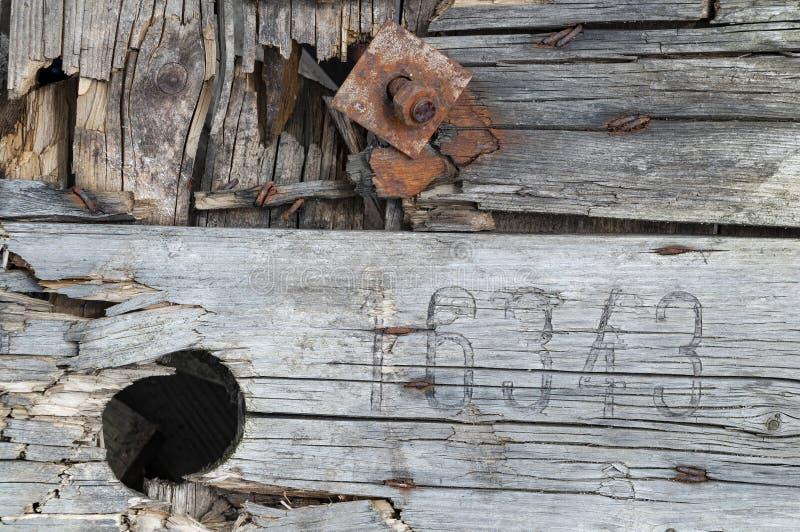 Il bordo di legno ha graffiato, sbiadito, vecchio, usato immagini stock libere da diritti