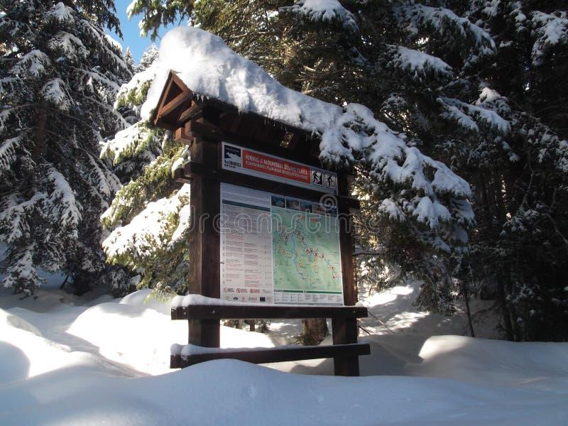 Il bordo di legno di informazioni della mappa di trekking immagine stock libera da diritti