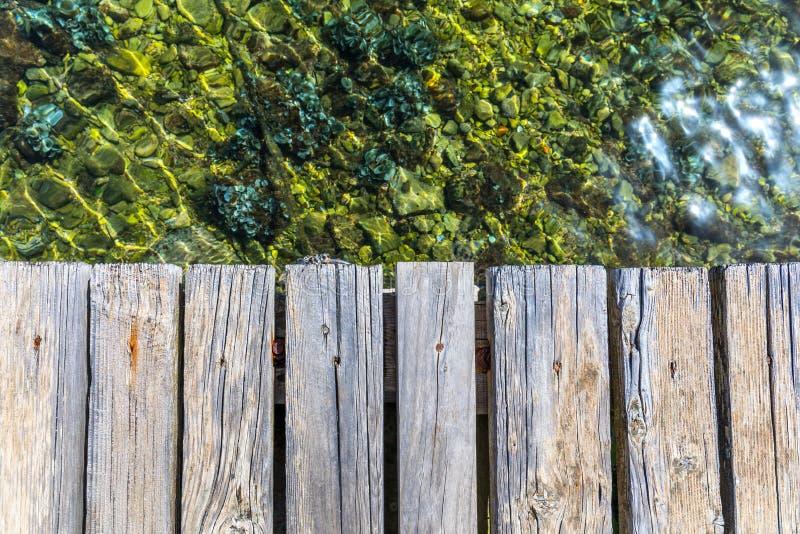 Il bordo di legno vuoto sopra il mare, pu? essere usato per esposizione o presentare un prodotto Stagione di estate Plance di leg fotografie stock