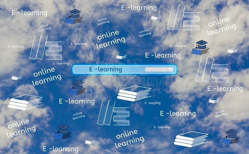 Il bottone del motore di ricerca dell'interfaccia dello schermo da trovare online e l'e-learning, con l'icona del cappello e del  royalty illustrazione gratis