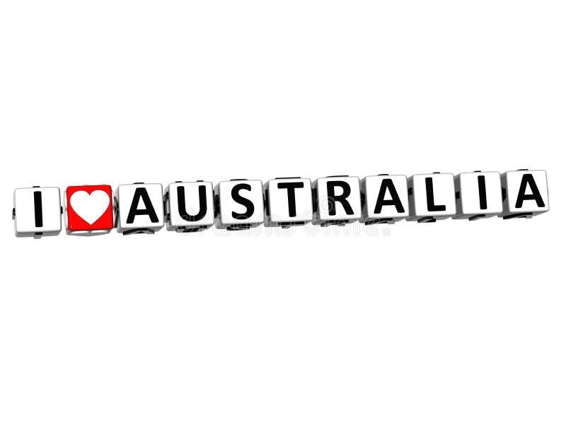 il bottone dell'Australia di amore di 3D I clicca qui il testo del blocco royalty illustrazione gratis