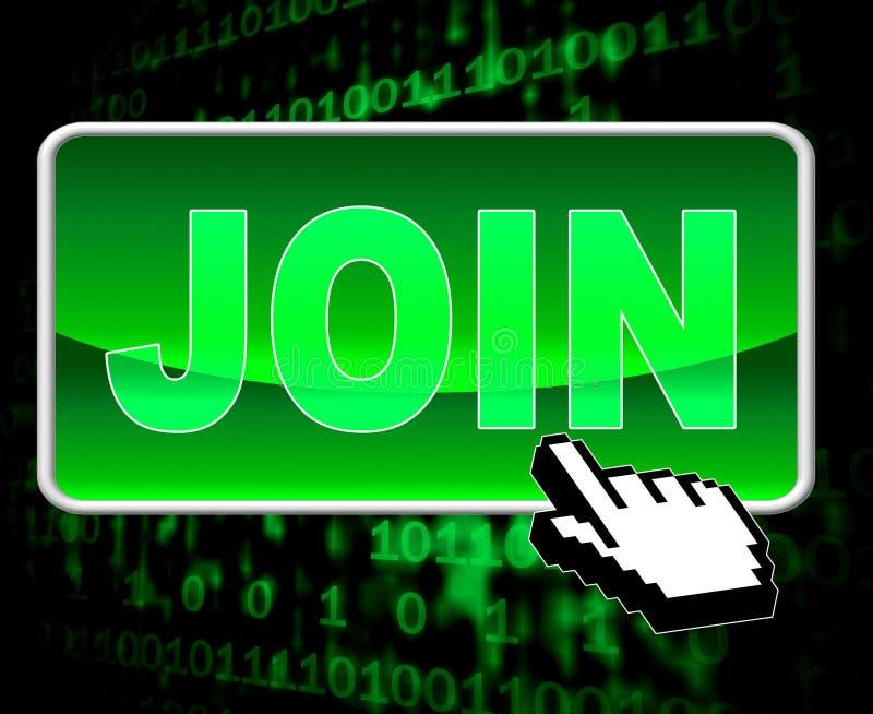 Il bottone dell'unire significa il World Wide Web e l'ammissione illustrazione di stock