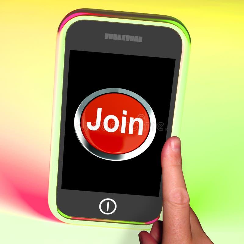 Il bottone dell'unire sul cellulare mostra la sottoscrizione e la registrazione illustrazione di stock