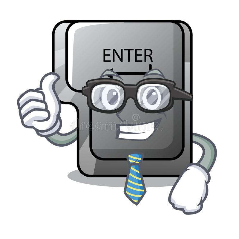 Il bottone dell'uomo d'affari entra su un carattere della tastiera illustrazione di stock