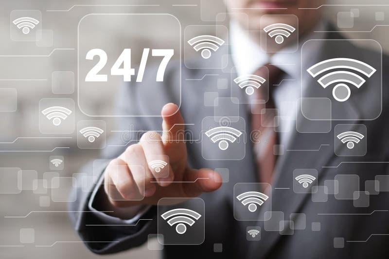 Il bottone di affari 24 ore assiste l'icona di wifi di web fotografia stock