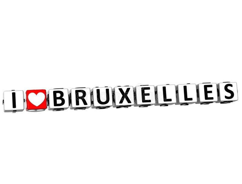 il bottone di Bruxelles di amore di 3D I clicca qui il testo del blocco royalty illustrazione gratis