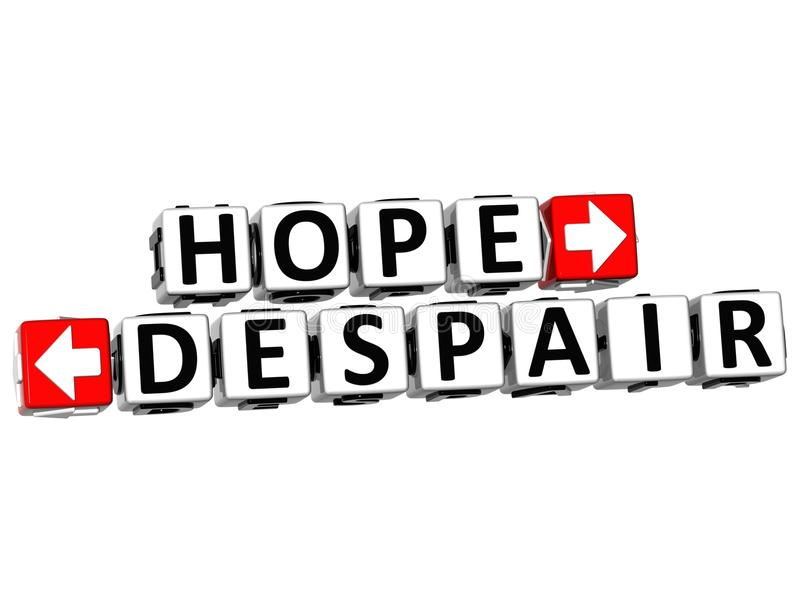 il bottone di disperazione di speranza 3D clicca qui il testo del blocco illustrazione vettoriale