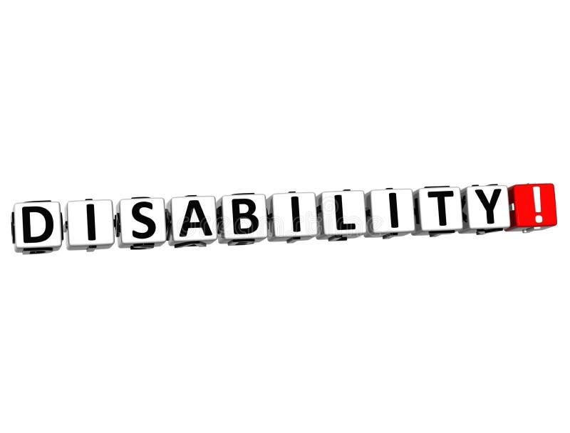 il bottone di inabilità 3D clicca qui il testo del blocco royalty illustrazione gratis