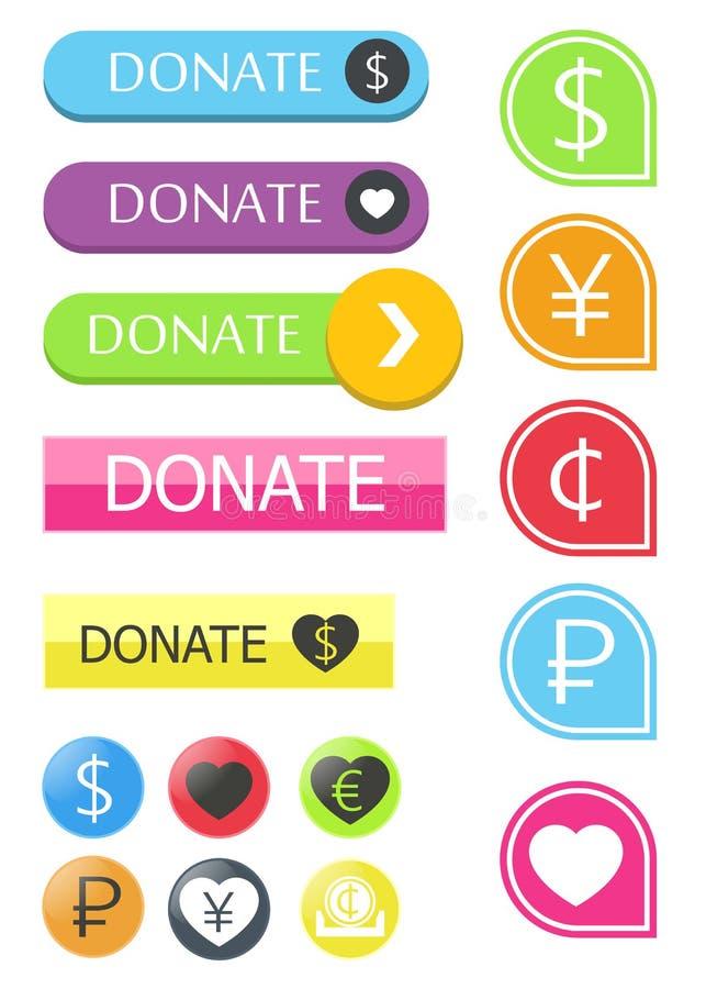 Il bottone per il sito dona illustrazione vettoriale