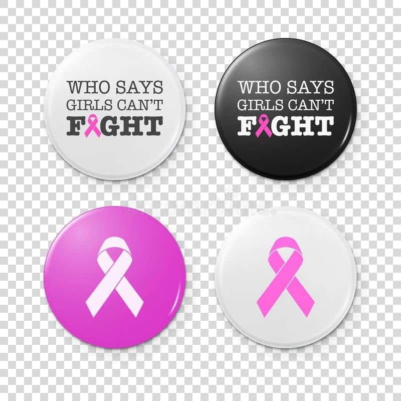 Il bottone realistico badges con l'iscrizione di tema del cancro ed il nastro rosa - simbolo di consapevolezza del cancro al seno royalty illustrazione gratis