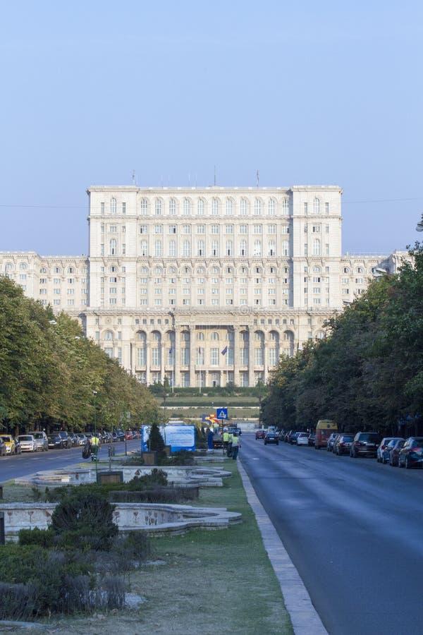 Il boulevard del sindacato ed il palazzo del Parlamento da Bucarest, Romania fotografia stock libera da diritti