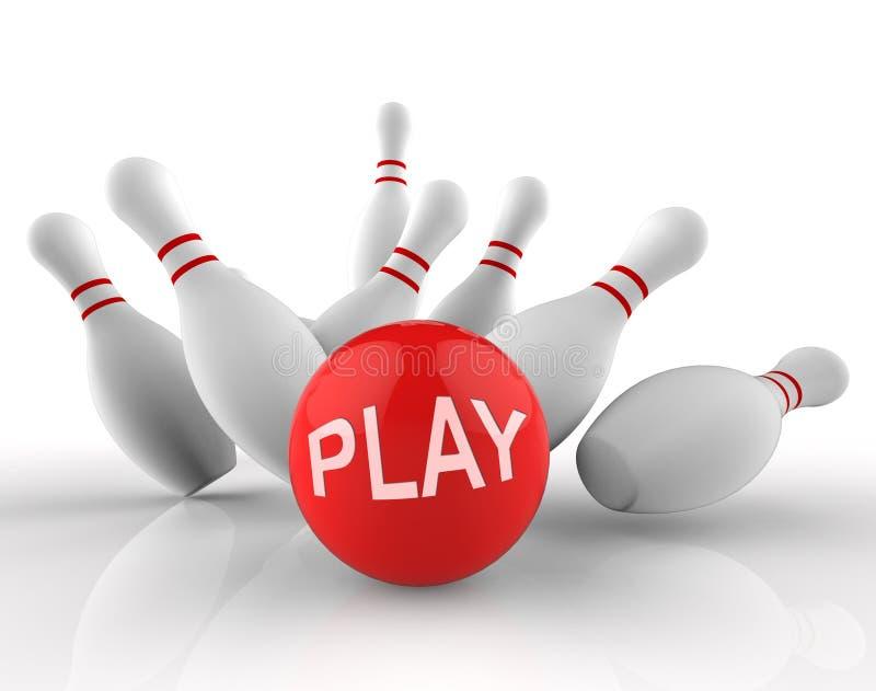 Il bowling del gioco indica la rappresentazione di attività e di tempo libero 3d illustrazione di stock