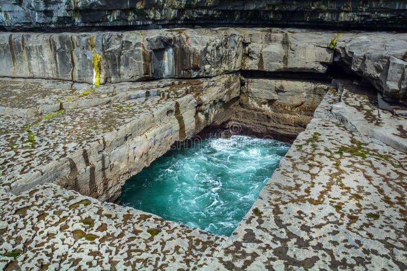 Il bPeist famoso del Na di scrutinio del ` del buco del verme del ` in gaelico in Inishmore, Aran Islands, Irlanda immagini stock