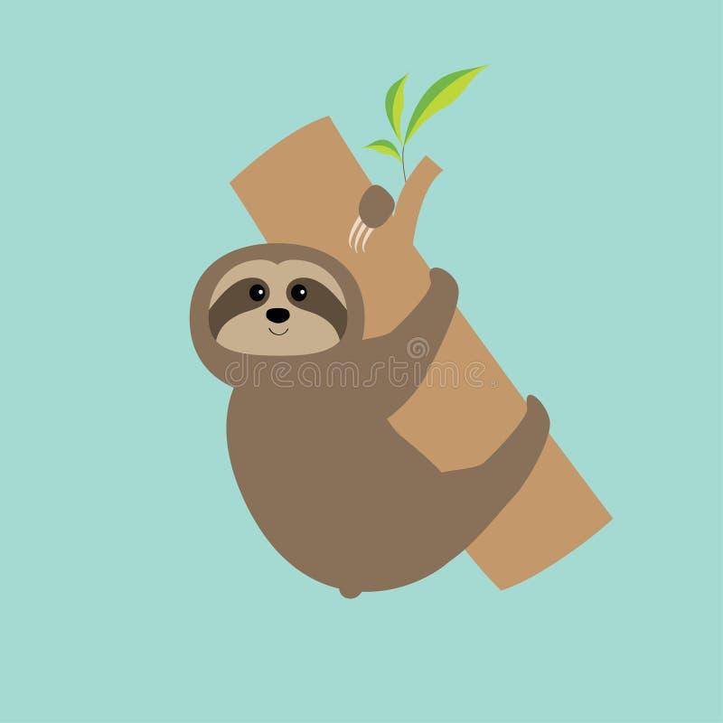 Il bradipo abbraccia il ramo di albero Personaggio dei cartoni animati sveglio Raccolta selvaggia dell'animale del joungle Madre  illustrazione di stock