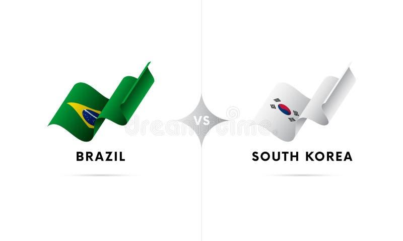 Il Brasile contro la Corea del Sud Calcio Illustrazione di vettore illustrazione di stock