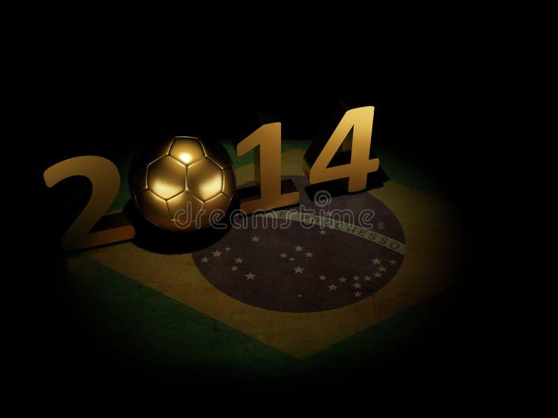 Il Brasile 2014, pallone da calcio sulla bandiera brasiliana royalty illustrazione gratis