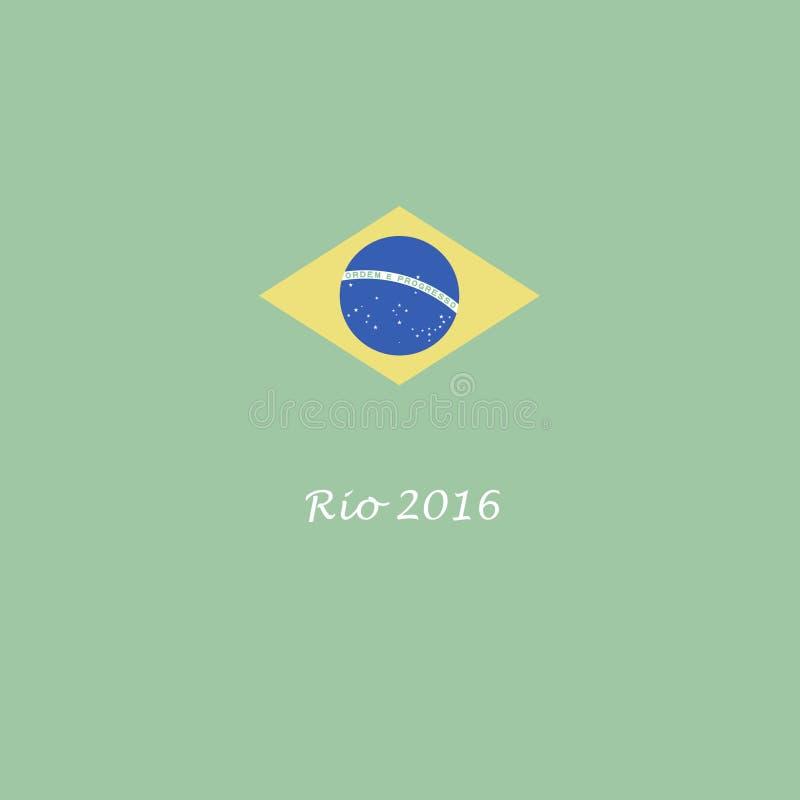 Il Brasile Rio de Janeiro grafico della bandiera di 2016 giochi olimpici di estate illustrazione di stock