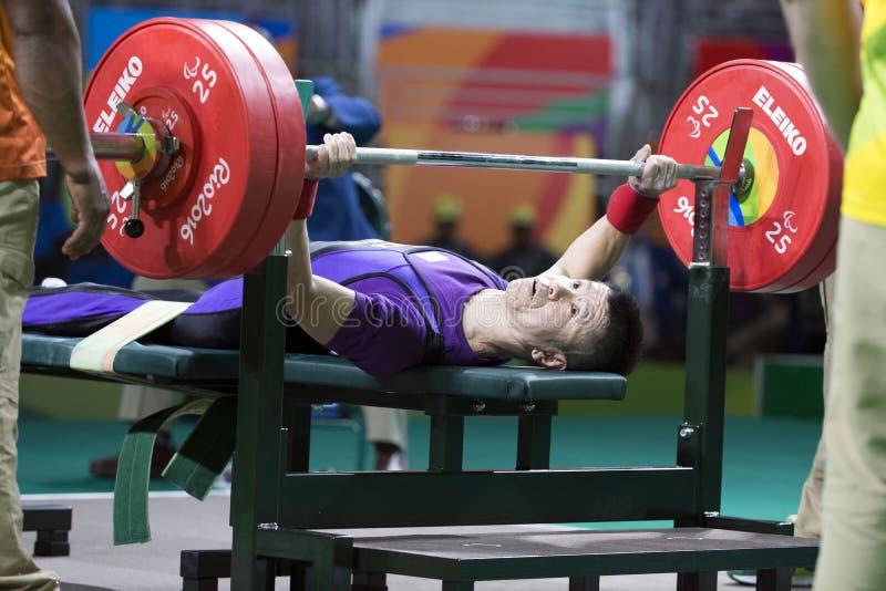 Il Brasile - Rio De Janeiro - sollevamento pesi 2016 del gioco paralimpico immagini stock