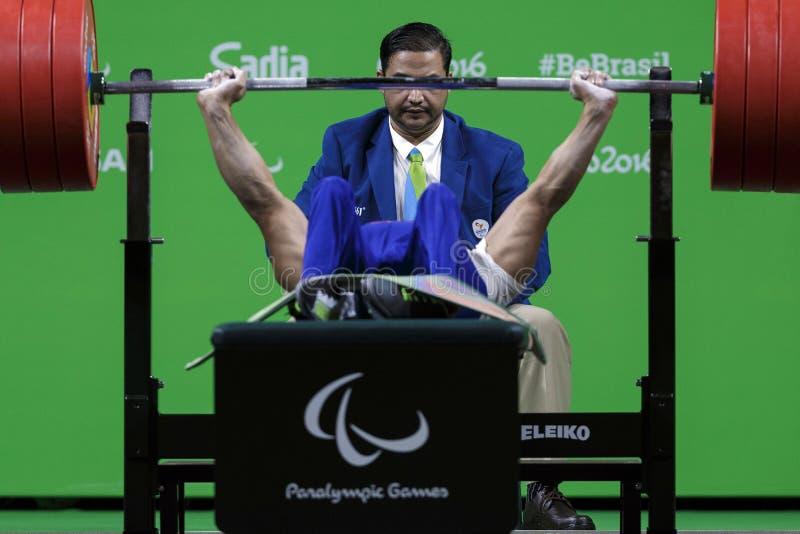 Il Brasile - Rio De Janeiro - sollevamento pesi 2016 del gioco paralimpico fotografie stock libere da diritti