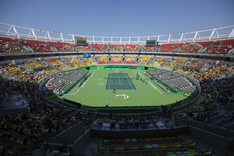 Il Brasile - Rio De Janeiro - tennis 2016 del gioco paralimpico lo Stadio Olimpico immagine stock libera da diritti