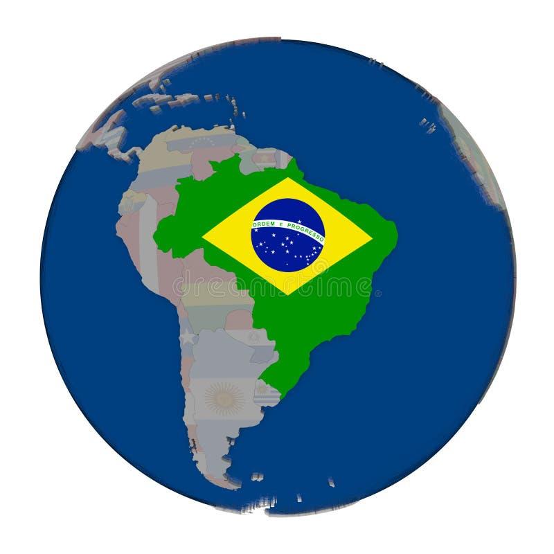 Il Brasile sul globo politico illustrazione di stock