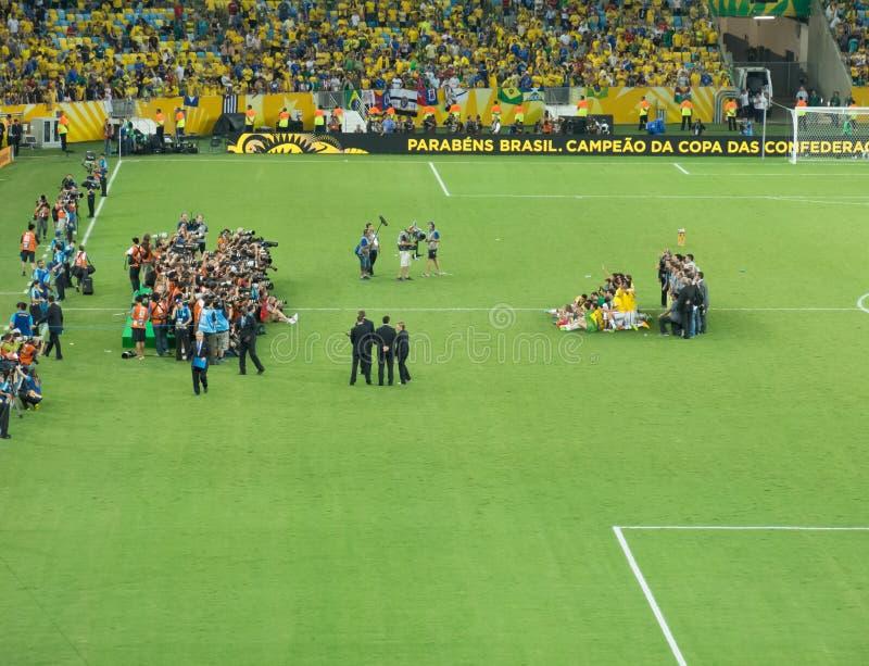 Il Brasile vc Spagna - tazza 2013 di confederazioni della FIFA immagine stock libera da diritti