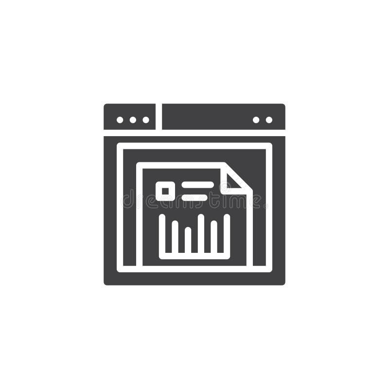 Il browser Web con l'analisi dei dati finanziaria online documenta l'icona di vettore illustrazione di stock