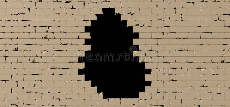 Il buco nero in un muro di mattoni 3D rende illustrazione di stock
