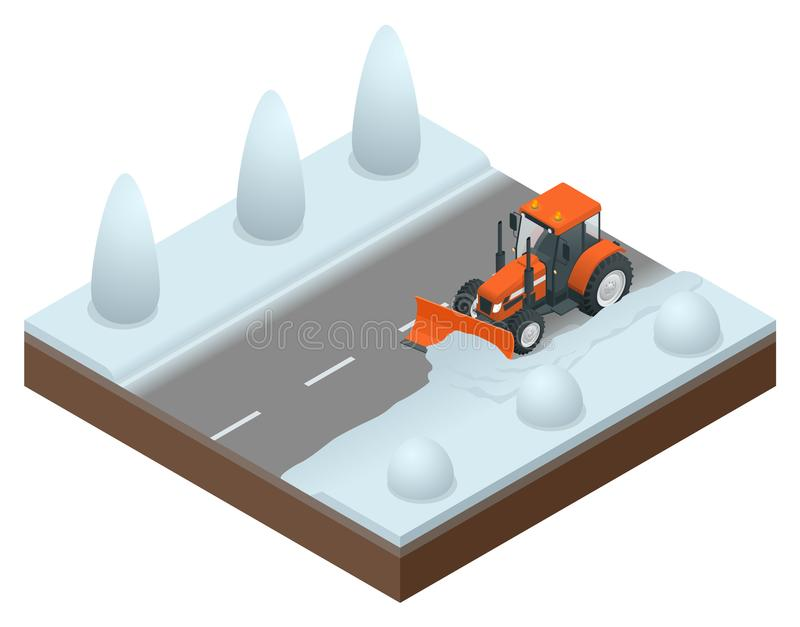 Il bulldozer isometrico libera dalla vecchia neve della strada Illustrazione di vettore dello sgombraneve a turbina illustrazione di stock