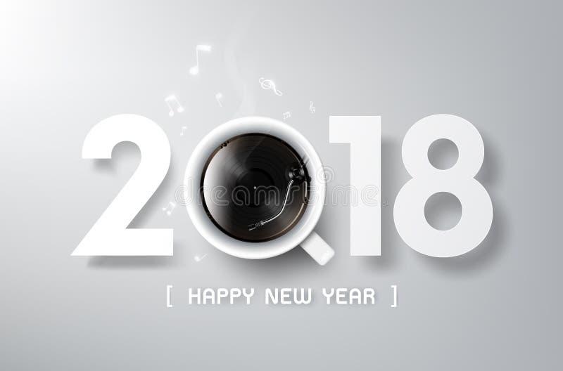 Il buon anno 2018 con il gioco del vinile e del caffè, si rilassa il tempo illustrazione di stock