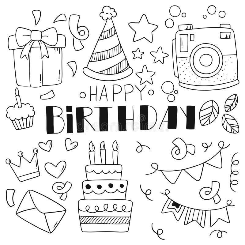 07-09-009 il buon compleanno di scarabocchio disegnato a mano del partito orna l'illustrazione di vettore del modello del fondo royalty illustrazione gratis