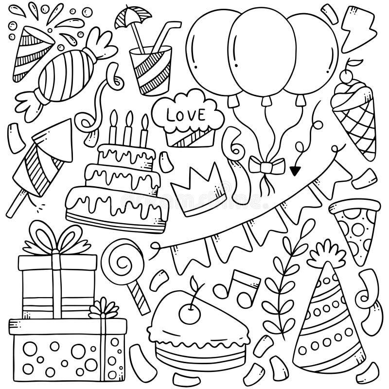 07-09-012 il buon compleanno di scarabocchio disegnato a mano del partito orna l'illustrazione di vettore del modello del fondo illustrazione di stock
